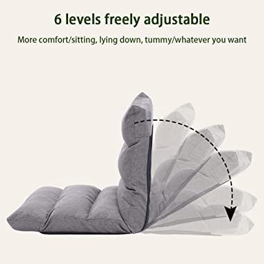 AKDXM Folding Lazy Sofa 6-Speed Adjustment Legless seat Fine-lint Cotton Linen Surface Thick Metal Skeleton High-Density Spon