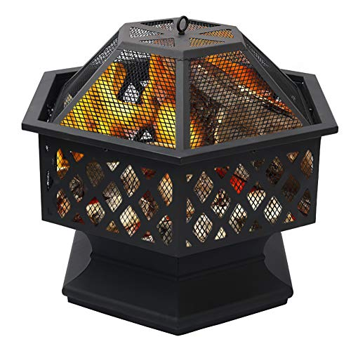 XEMQENER Outdoor Fire Pit for Garden Patio Large Garden Heater Burner for Wood Charcoal; Includes Spark Guard and Poker (Hexagonal Fire Pit)