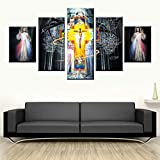 KWzEQ Imprime 5 pósters nórdicos Lienzo Retratos de Arte Moderno Sala de Estar Decorada de Jesucristo,Pintura sin Marco,30x40cmx2, 30x60cmx2, 30x80cmx1