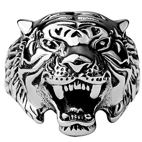 Gothic Biker Tiger Head Ring Band Ferocious Beast Animal Design, Men's Vintage Stainless Steel Soldered Polished by Hand Ideal Present for Friends,Relatives and Yourself,Silver,9
