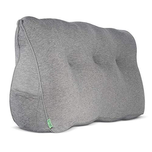 DYNMC YOU Rückenkissen Bett & Sofa Oeko TEX Qualität - Keilkissen Bett als Rückenstützkissen - Großes Kissen im Bett als Rückenlehne, Wandkissen & als Lesekissen - Bett Kopfteil Gepolstert (Grau)