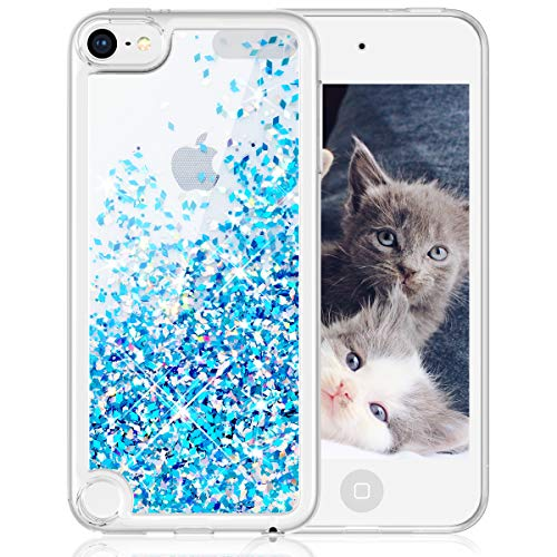 Maxdara iPod Touch 5 6 7 Case, Glitter iPod 5th 6th 7th Generation Case for Girls Children Liquid Bling Sparkle Quicksand Pretty Cute Case for iPod Touch 5th 6th 7th Generation (Blue)