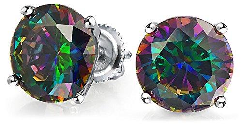.50 Ct Runde Schwarzen Mystic Regenbogen Cubic Zirconia Solitär CZ Ohrstecker Für Damen 925 Sterling Silber Schraube 5MM
