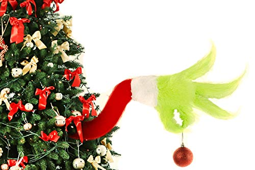 Furry Green Grinch Arm Ornament Holder Christmas Tree Decorations for The Christmas Tree for Christmas Home Party