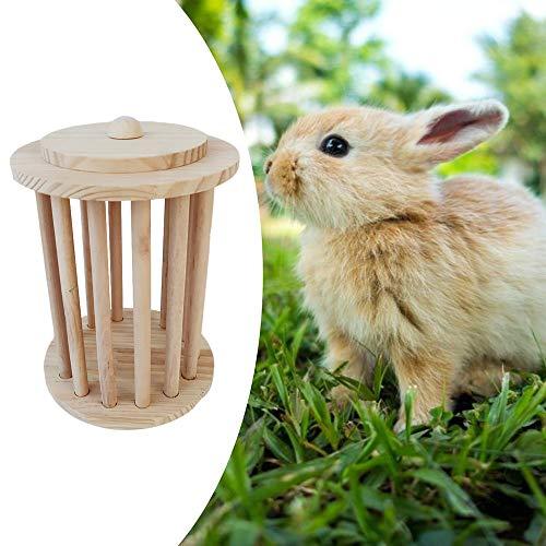 Waza Verticale hood-voederdispenser voor konijnen, speelgoed, grasdispenser van hout, plank voor geschaafd gras voor kleine dieren, cavia-dieren