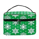 Bolsa de maquillaje de viaje con patrón verde de copos de nieve, bolsa de maquillaje, organizador con cremallera, para mujeres y niñas