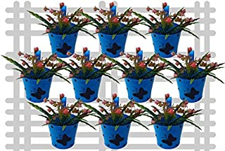 Railing planter impex Round 1 Butterfly Dotted Railing Planter/Plant pots (Blue, Pack of 10)?