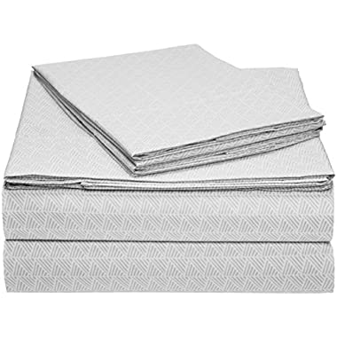 AmazonBasics Microfiber Sheet Set - King, Grey Crosshatch