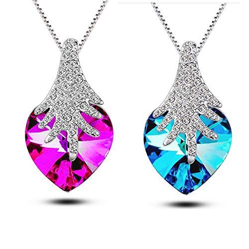 Findout, collana da donna con ciondolo in argento Sterling a forma di cuore di colore blu, bianco e ametista (in confezione regalo)