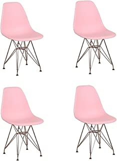 Juego de 4 sillas de comedor con patas de metal cromado estilo industrial, cocina, restaurante (rosa)