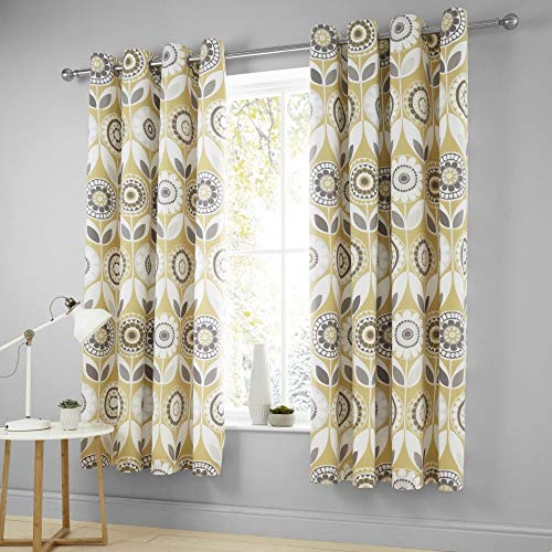 Catherine Lansfield Annika Easy Care Eyelet Curtains Ochre 66x72 Inch