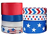 Q-YO Ribbon for Crafts, Grosgrain/Satin Ribbon Combo for Gift Package Wrapping, Hair Bow Clips & Accessories Making, Sewing, Wedding Decor (35yd 3/8' - 7/8' Patriotic Ribbon, Red White Blue)