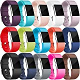 Wepro Bands Replacement for Fitbit Charge 2, Buckle, 15-Pack, Small