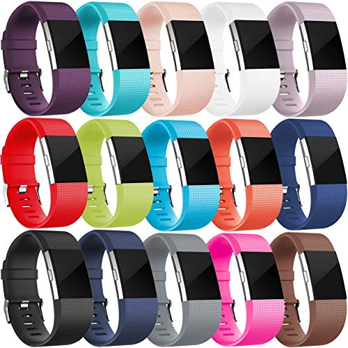 Wepro Bands Replacement for Fitbit Charge 2, Buckle, 15-Pack, Large