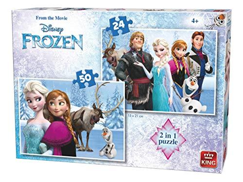 King Disney 2in1 Frozen 24/50 pcs Puzzle - Rompecabezas (Puz