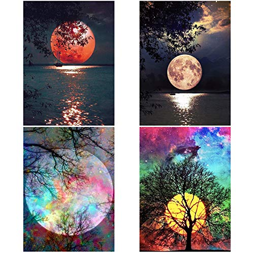 Aneco 4 Pack 5D DIY Diamond Painting by Numbers Kits Beautiful Moon Full Drill Embroidery Cross Stitch Painting for Home Decor