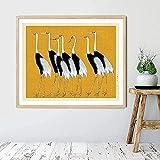XMYC Póster con Imagen de pájaros Amarillos, impresión de grúa, Impresiones de Arte Oriental japonés, póster costero Vintage, Imagen para decoración del hogar, 70x90cm sin Marco
