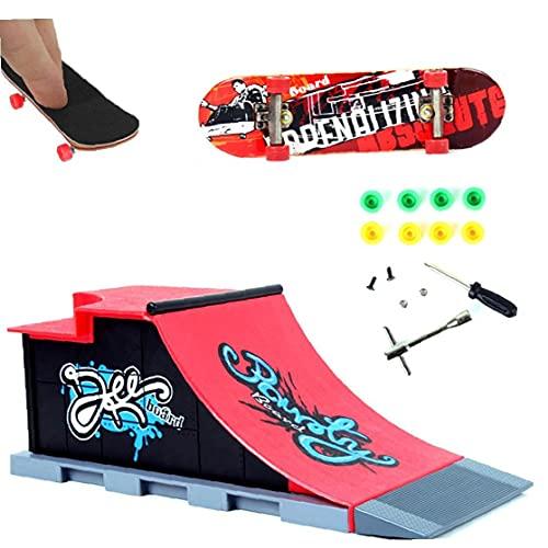 LAANCOO 1Set Finger Skateboard Venue Kombination Set Mini-Finger-Brett Micro Skateboard-Rampe Werkzeuge Fun Skateboard Platz Spielset (C)