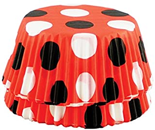 Fox Run 6900 Polka Dot Disposable Bake Cups, 3 x 3 x 1.25 inches, Red with Black