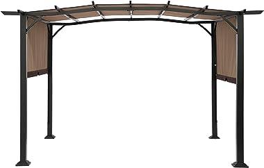 SUNA OUTDOOR Pergola 12 x 9 Ft Patio Gazebo, Outdoor Patio Sunshelter Steel Frame Pergola Retractable Canopy Shade for Backya