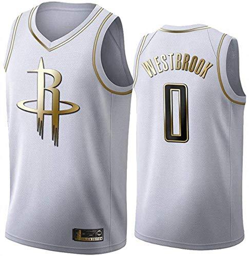 Jerseys De Baloncesto Para Hombres, Houston Rockets # 0 Russell Westbrook Chalecos Casuales De La NBA Uniformes De Baloncesto Para Ventiladores Tops De Camiseta Sin Mangas,Blanco,XL(180~185CM)