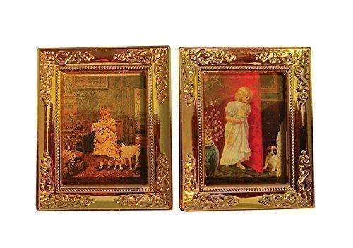 SA-Dollshouse D1253 2 Bilder mit Bilderrahmen Gold 1:12 für Puppenhaus