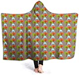 hgdfhfgd Hooded Blanket Hood Cloak Cape Wearable Cuddle Super Soft Sherpa Fleece 3D Blanket, Floral Pattern with Ladybugs and Butterflies Dotted Background Nature Inspirations fashion11393