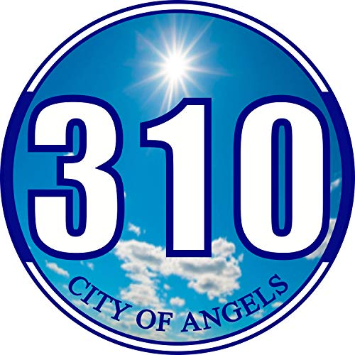 Los Angeles 310 Area Code Bumper Sticker - LA City of Angels Premium Vinyl Car Decal 3 x 3' inch Car Auto-Mobile Window Helmet California State City Blue Sky Clouds Local Digits + Better Than Magnets