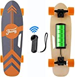 CAROMA 28inch Electric Skateboard 20 KM/H Top Speed, 350W Singal Motor, 8 Km Range, 7.7 Lbs, Maximum Load 176lb, 7 Layers Maple E Skateboard with Wireless Remote Control for Adults and Youths(Orange)