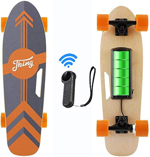 Caroma 70 cm Elektro Skateboard mit Drahtloser Bluetooth Fernbedienung für Erwachsene und Jugendliche, 20 km/h Höchstgeschwindigkeit, 350 W Motor (Orange)