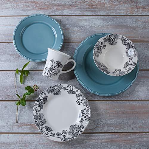 Euro Ceramica Savannah Collection Dinner, Salad, Lunch Plates, Bowls, Mugs Set, Elegant Hand Painted Design, 20-Piece Dinnerware, Blue