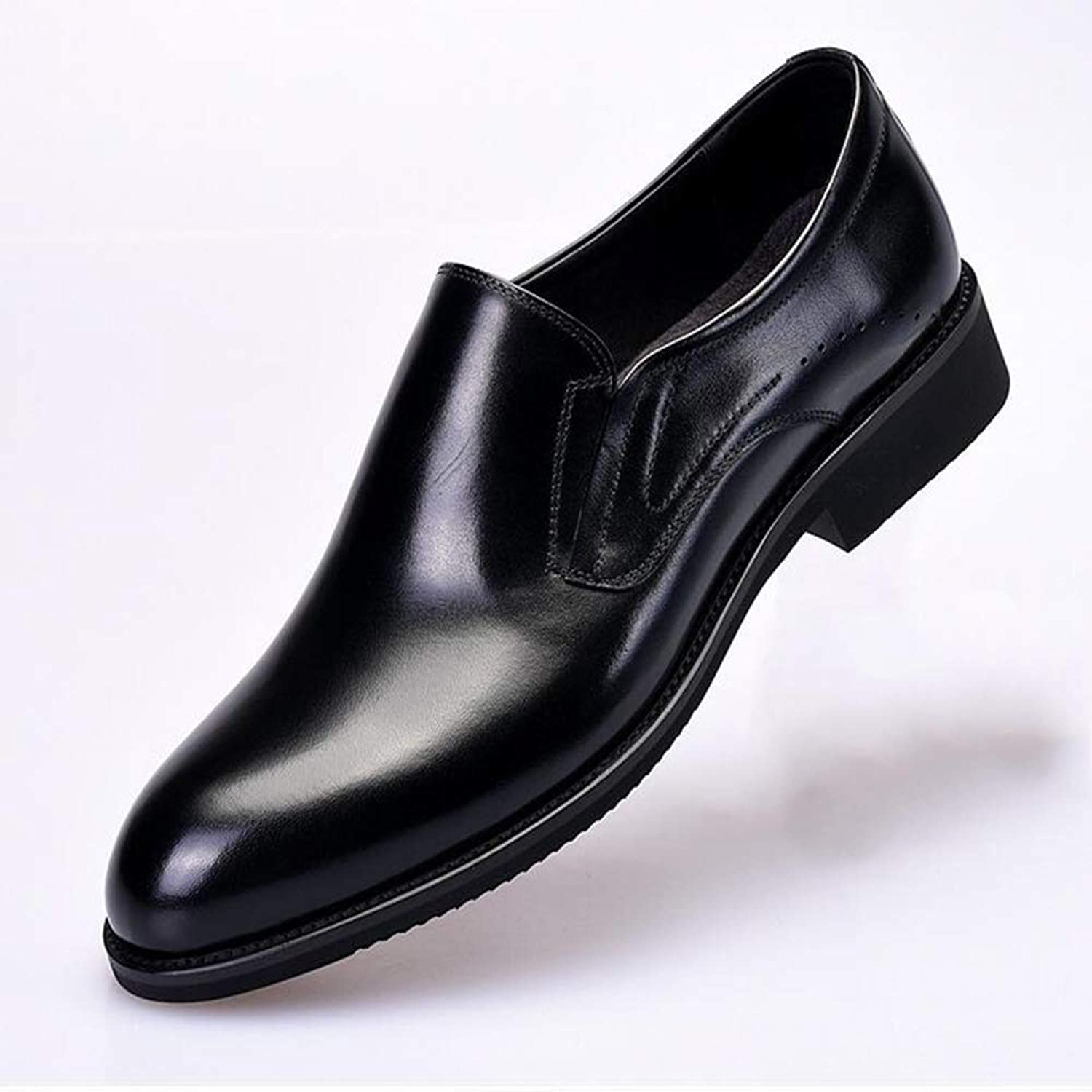 OFZYG Men'S Leather shoes Trendy Youth Fashion Pointed shoes Leather Business Dress Leather Men'S shoes Low To Help Breathable Wear-Resistant Anti-Slip