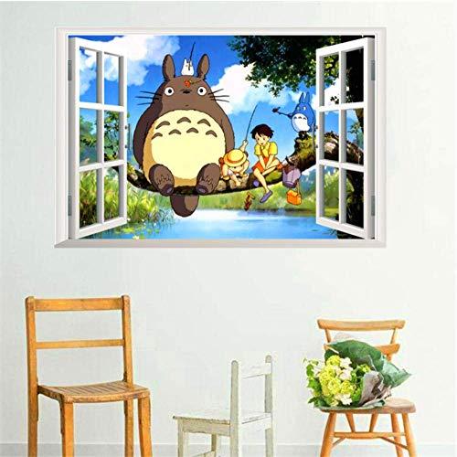 Diy Cartoon Totoro Wandaufkleber Für Kinderzimmer Schlafzimmer Wohnzimmer Fenster Wandkunst Dekor Aufkleber Pvc Abnehmbare Poster 60X90Cm
