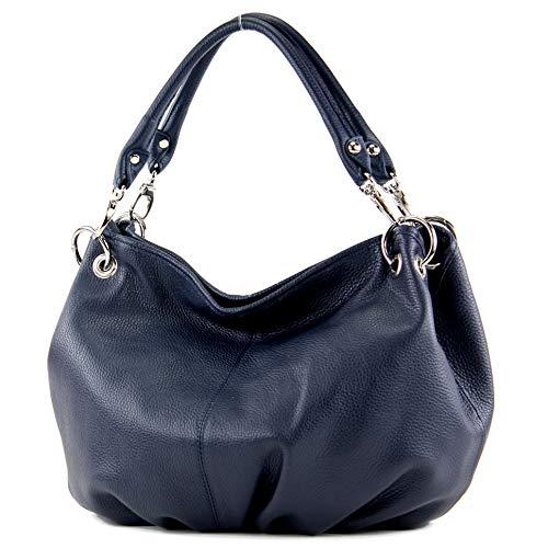 modamoda de - IT40 - ital. Damentasche aus Nappaleder/Leder, Farbe:Dunkelblau Leder