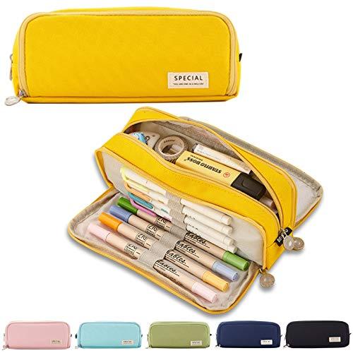 Pennenetui etui tienermeisjes etui pennen 3 vakken, grote capaciteit pennenetui voor school & kantoor (geel)