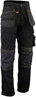 WrightFits Men Holster Work Trousers Black - Heavy Duty Safety Combat Cargo Pants - Multi Pockets - Knee Pad Pockets - Tri...