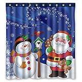 Unique Custom Merry Christmas Santa Claus and Snowman Waterproof Fabric Polyester Shower Curtain 66'X72'-Bathroom Decor