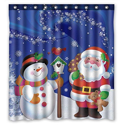 "Unique Custom Merry Christmas Santa Claus and Snowman Waterproof Fabric Polyester Shower Curtain 66""X72""-Bathroom Decor"