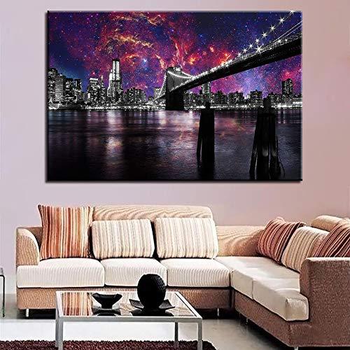 SDFSD brug nachtzicht canvas olieverfschilderij hd druk hoofddecoratie kleurrijke stad architectuur creatieve modulaire landschap kunst poster 40x60cm