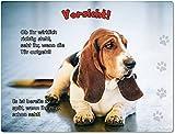 Merchandise for Fans Blechschild/Warnschild/Türschild - Aluminium - 15x20cm - mit Spruch - Motiv: Basset Hound - 01