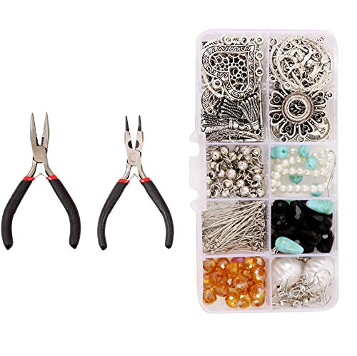 Andifany Kit de FabricacióN de Pendientes de Estilo Bohemio DIY, Conector de Pendiente Colgante, Alicates de Gancho, Kit de FabricacióN de Joyas