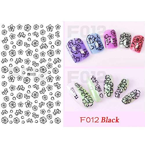N-A 1 pcs Fleur 3D Nail Art Autocollants Stickers Conseils Décoration Cartoon Chat Coupé Modèles DIY