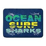 Green Haoke rutschfeste Auflage Blue Fish of Ocean Surf und Shark Graphics Surfbrett Beach Board Home Decor Willkommen Fußmatte Für Eingang Küche Badezimmer...