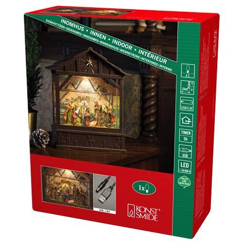 Konstsmide Decoración de Navidad LED Bola de Nieve Linterna Navidad Natividad/Interior, Temporizador de 5 Horas/Funciona con Pilas: 3xC 1.5V (sin cl)/Linterna de Navidad 1 Diodos Blanco Cálido