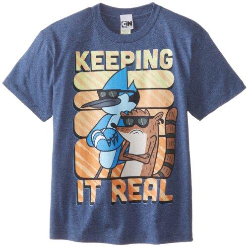 Camiseta para meninos com estampa regular, Heather Navy, Medium