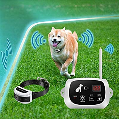 FOCUSER Electric Wireless Dog Fence System, Pet Containment System for Dogs and Pets with Waterproof and Rechargeable Training Collar Receiver Boundary (White)