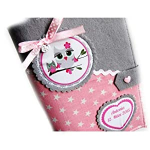 3 in 1 U-Heft Hülle Eule & Baby rosa UHeft Sterne