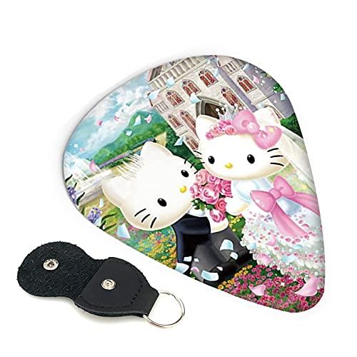 Púas para guitarra de Hello Kitty de dibujos animados, paquete de 6 unidades, incluye una púa fina mediana y pesada, 0,46 mm, 0,71 mm, 0,96 mm, adultos, hombres, mujeres, adolescentes, 0,96 mm