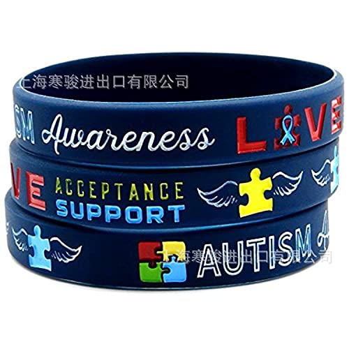 Xi-Link Pulseras De Concienciación Al Autismo Pulsera De Alerta Médica De Silicona De Silicona para Hombres para Hombres (Color : Blue)