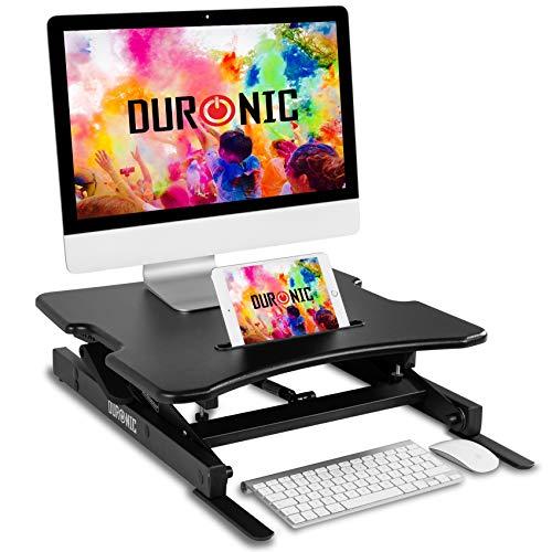Duronic DM05D18 Nakładka biurko stojąco - siedzące | uchwyt na monitor i klawiaturę | biurko do pracy na stojąco | podnośnik do komputera | stacja robocza | podstawka